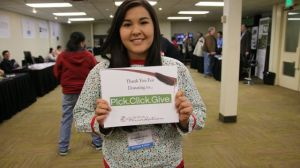 "Student Elizabeth Jerue says, ""Thank you for Pick Click Giving!"""